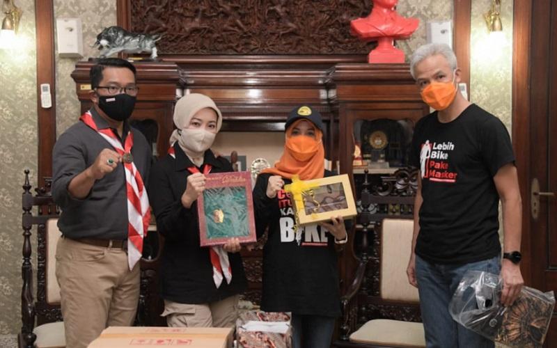 Ridwan Kamil bersama istri saat bertemu Ganjar Pranowo dan istri - Istimewa