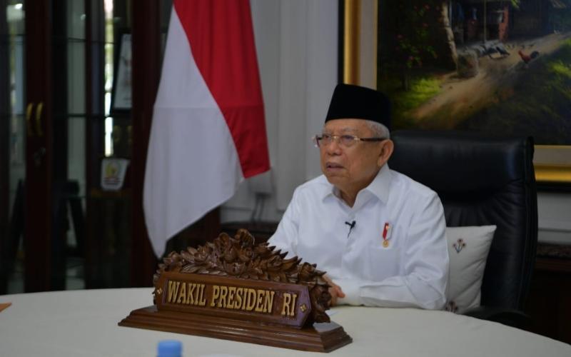 Wakil Presiden Ma'ruf Amin saat mengisi diskusi ekonomi dan perbankan syariah di era new normal  -  Setwapres