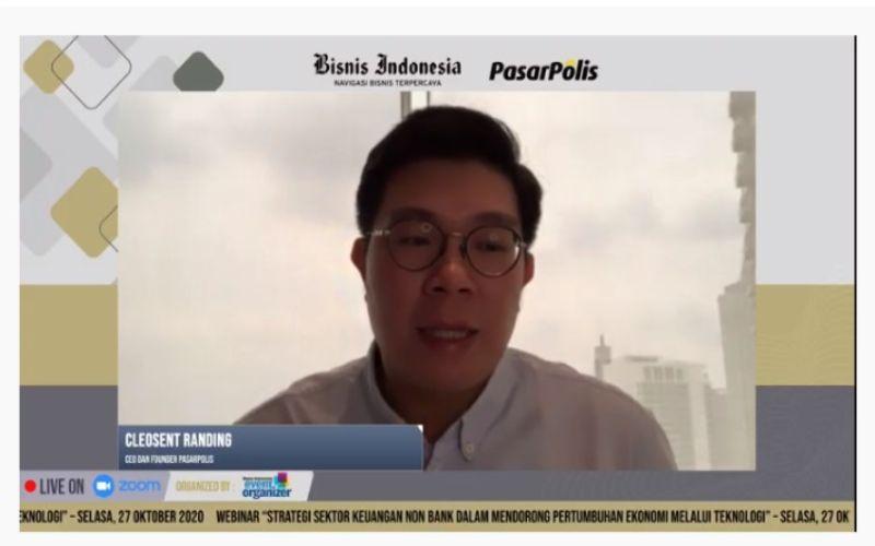 Founder & CEO PasarPolis Indonesia Cleosent Randing saat menjadi narasumber dalam Webinar bertajuk