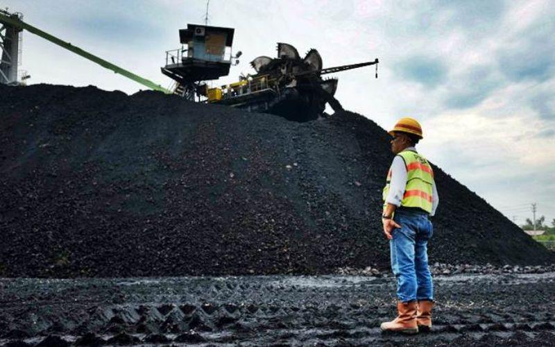 Petugas mengawasi proses penimbunan batu bara di Tambang Air Laya, Tanjung Enim, Sumatra Selatan - Bisnis