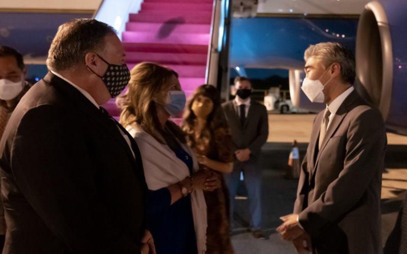 Menteri Luar Negeri Amerika Serikat (AS) Mike Pompeo tiba di Indonesia, Kamis )29/10/2020). JIBI - Bisnis/Nancy Junita @SecPompeo