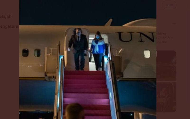 Menteri Luar Negeri AS Mike Pompeo tiba di Indonesia, Kamis (29/10/2020), dan dijadwalkan bertemu Presiden Joko Widodo. JIBI - Bisnis/Nancy Junita @SecPompeo