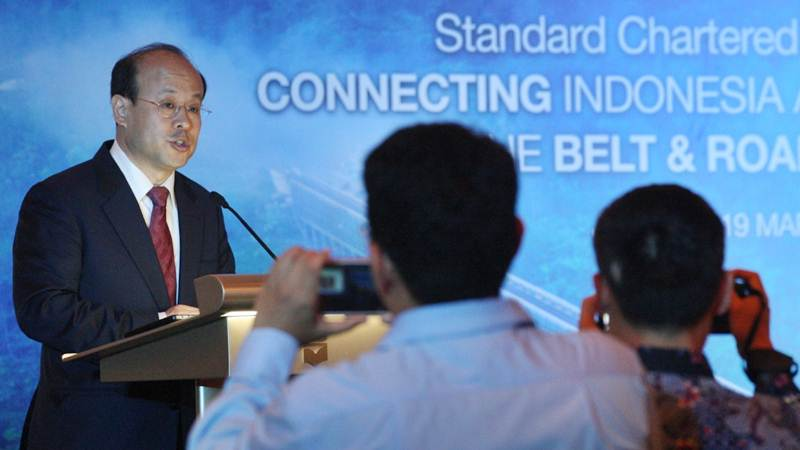 Duta Besar Republik Rakyat Tiongkok untuk Indonesia Xiao Qian memberikan penjelasan pada peluncuran forum Standard Chartered CEO Connect dengan mengusung topik Connecting  Indonesia and China throught the Belt & Road Initiative di Jakarta, Selasa (19/3/2019). - Bisnis/Dedi Gunawan