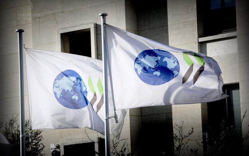Bendera OECD di kantor pusat OECD di Paris, Prancis - OECD