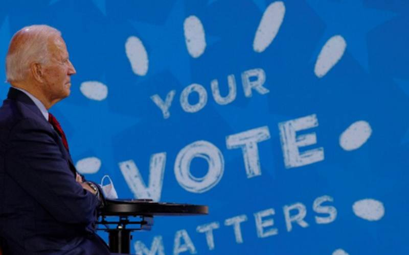 Calon presiden Amerika Serikat dari Partai Demokrat Joe Biden berpartisipasi dalam sebuah acara virtual