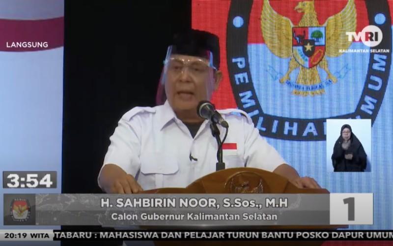 Calon Gubernur Kalimantan Selatan, Sahbirin Noor, menyampaikan visi dan misinya dalam debat yang ditayangkan, Kamis (5/11/2020) malam - Youtube/TVRI Kalsel