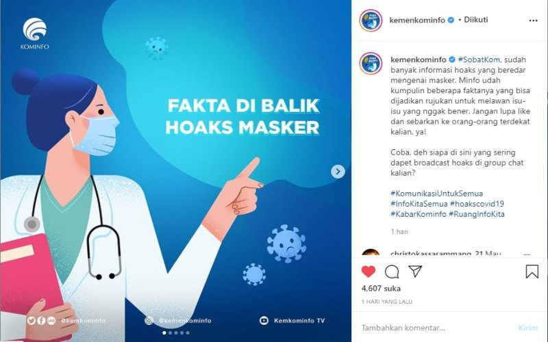 Ilustrasi-Fakta di balik hoaks tentang masker - Instagram @Kemenkominfo