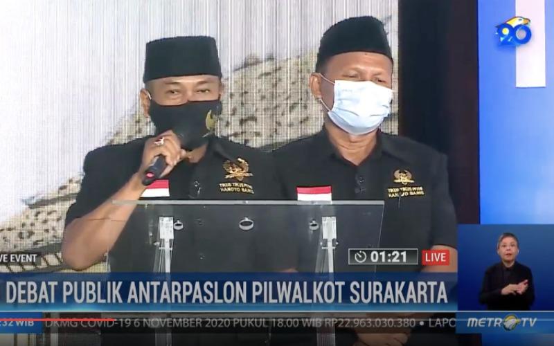 Pasangan Calon Wali Kota dan Wakil Wali Kota Solo Bagyo Wahyono dan FX Suparjo dalam debat publik yang diselenggarakan KPU Solo, Jumat (6/11/2020) - Youtube/Metrotvnews