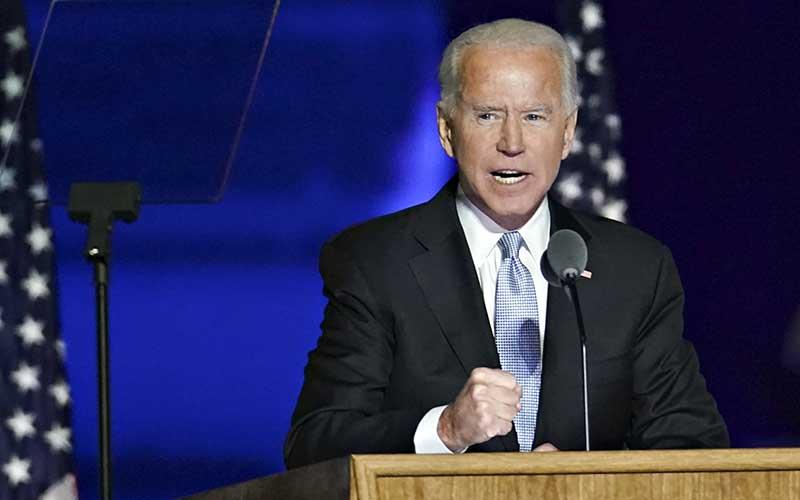 Presiden terpilih AS Joe Biden saat menyampaikan pidato kemenangan di Wilmington, Delaware, AS, Sabtu (7 /11/2020). Bloomberg - Sarah Silbiger