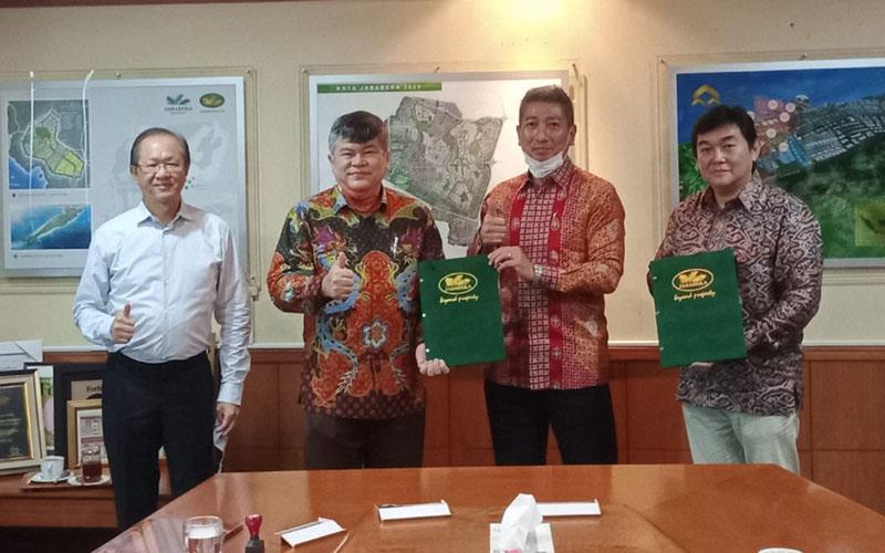 Jababeka Morotai, Kyudenko Corporation, dan Santomo Resources Indonesia menandatangani MoU pembangunan PLTS di KEK Morotai, Maluku Utara. - Istimewa