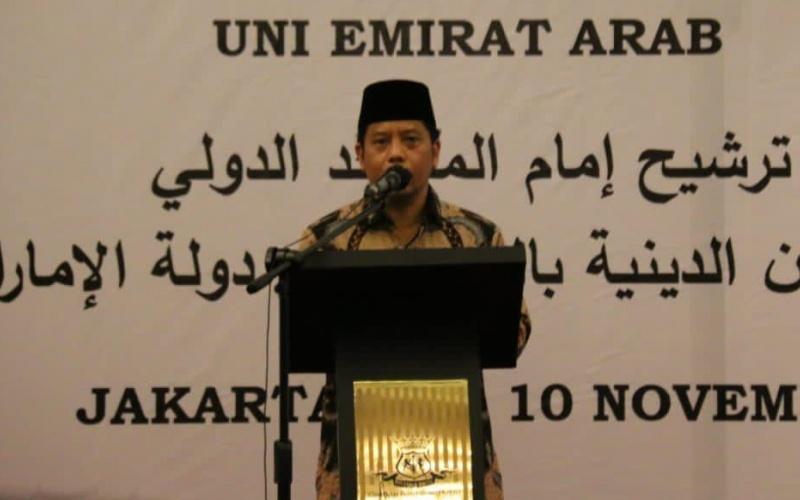 Dirjen Bimas Islam Kamaruddin Amin memberikan sambutan dalam agenda seleksi calon imam masjid yang akan bertugas di Uni Emirat Arab, Minggu, Senin (9/11/2020) - Dok./Kemenag