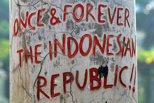 Salah satu tulisan di area monumen Tugu Pahlawan di Surabaya - Istimewa