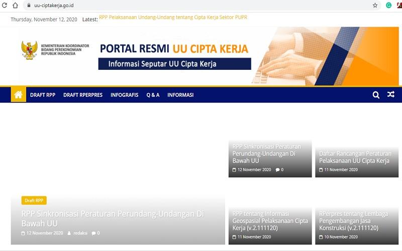 Portal Resmi UU Cipta Kerja bisa diakses di situs uu-ciptakerja.go.id  -  istimewa