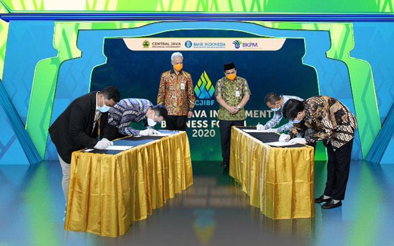 Kawasan Industri Kendal menandatangani kerja sama dengan PT Roda Maju Bahagia, PT Borine Technology Indonesia, dan PT Indesso Aroma. - Istimewa