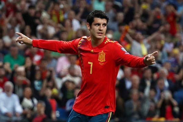 Penyerang Timnas Spanyol Alvaro Morata. - Reuters/Sergio Perez