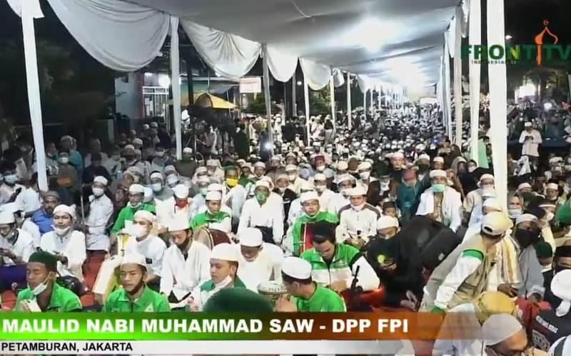 Tangkapan layar salah satu suasana perayaan Maulid Nabi yang diselenggarakan DPP FPI, Sabtu (14/11/2020). - Front TV