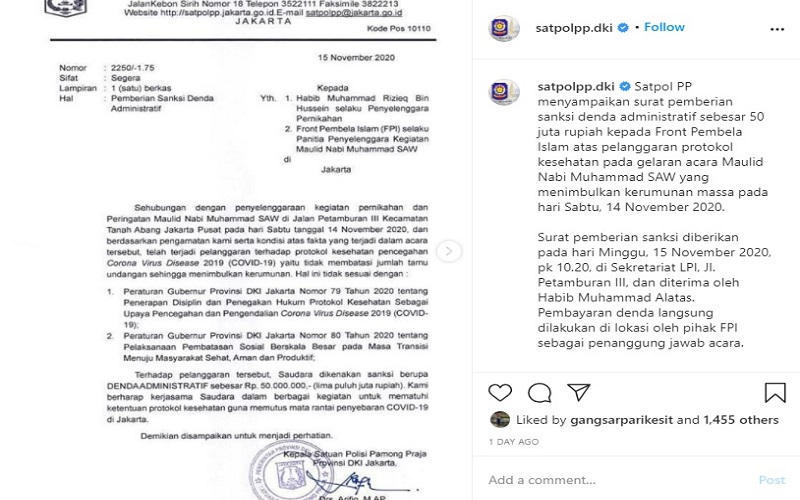 Isi surat peringatan denda pelanggaran prokol kesehatan oleh FPI dan Rizieq Shihab sebesar Rp50 juta.  -  Sumber: IG @satpolpp.dki