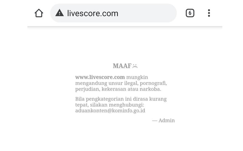 Tangkapan layar situs livescore.com yang diblokir oleh pemerintah.  - Dok. Istimewa