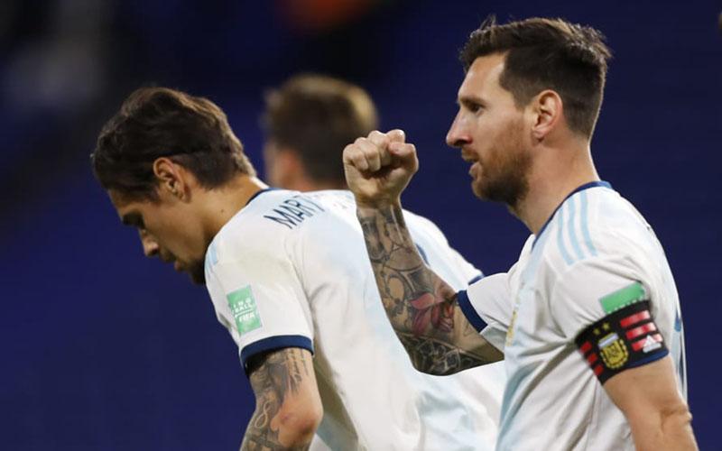 Penyerang sekaligus kapten Timnas Argentina Lionel Messi selepas menjebol gawang Ekuador. - FIFA.com