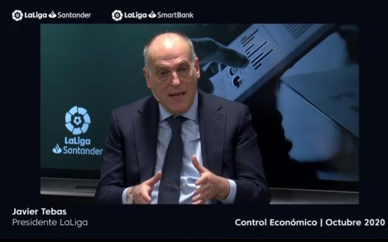 Presiden LaLiga, Javier Tebas dalam konferensi video Selasa (17/10/2020)  -  Bisnis.com / Herdanang A Fauzan