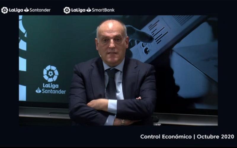 Presiden La Liga, Javier Tebas menjelaskan kebijakan-kebijakan terkini operator liga dalam konferensi virtual Selasa (17/10/2020)  -  Bisnis.com / Herdanang A Fauzan