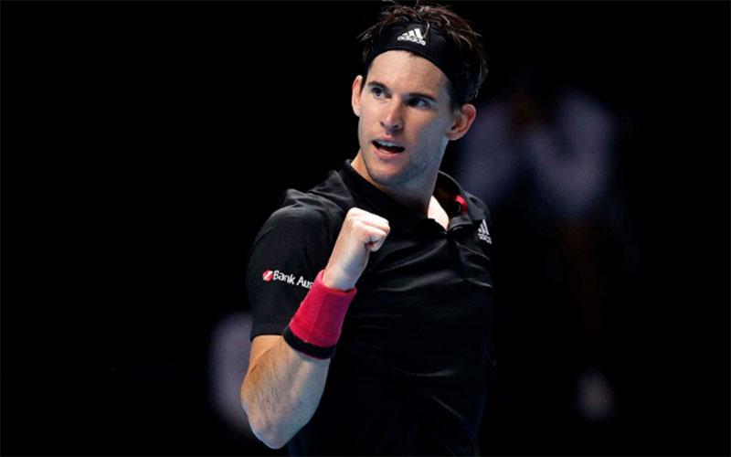 Dominic Thiem setelah menundukkan Rafael Nadal. - NittoATPFinals.com