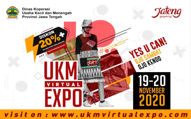 Dinas Koperasi dan UMKM Provinsi Jawa Tengah kembali menyelenggarakan pameran produk UKM Virtual Expo yang akan digelar pada 19/20 November 2020.