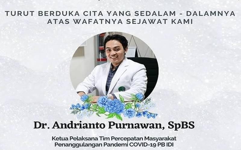 Ketua Tim Percepatan Partisipasi Masyarakat Penanggulangan Covid-19 Pengurus Besar Ikatan Dokter Indonesia (PB IDI) Andrianto Purnawan (38) meninggal dunia pada Rabu (18/11/2020) di RS Soetomo, Surabaya karena Covid-19. - Instagram Satgascovididijatim