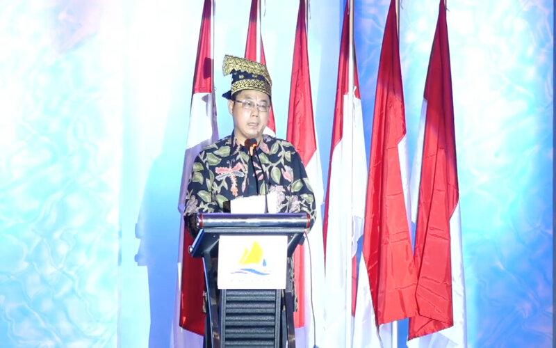 Direktur Keuangan  PT PP (Persero) Agus Purbianto menyampaikan pidato pada acara Groundbreaking pembangunan SPAM Lintas Pekanbaru-Kampar, Kamis (19/10/2020) di Hotel Pangeran. - Bisnis/Eko Permadi.