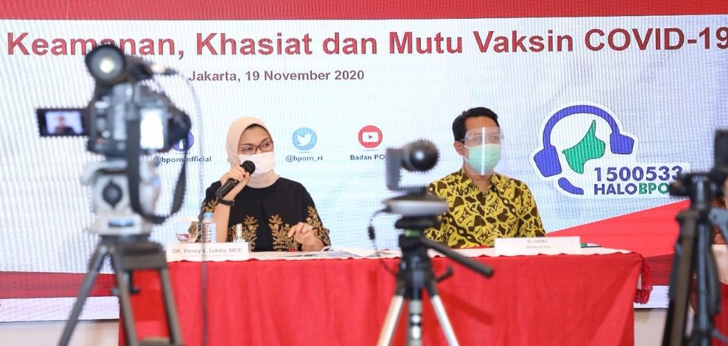 Ketua BPOM ) Penny Kusumastuti Lukito memberi penjelasan jadwal kapan vaksin corona atau Covid-19 masuk dan diedarkan di Indonesia. - Dok. BPOM