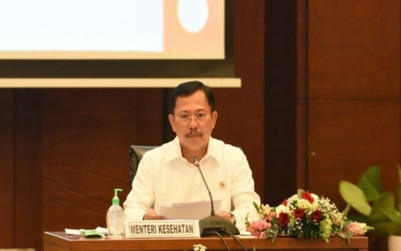 Menteri Kesehatan Terawan saat konferensi pers - Kemenkes