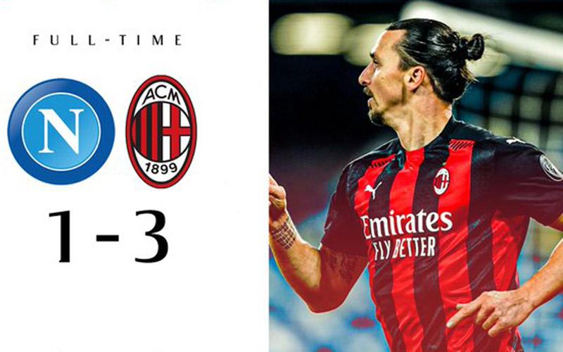 Zlatan Ibrahimovic mencetak dua gol untuk membawa AC Milan menaklukkan Napoli 3/1.Twitteracmilan