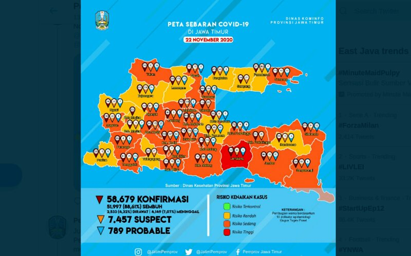 Peta risiko Covid-19 di Jatim per 22 November 2020. - Pemprov Jatim