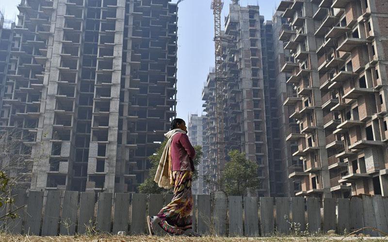 Proyek pembangunan residensial vertikal di Uttar Pradesh, India./Bloomberg - Anindito Mukherjee