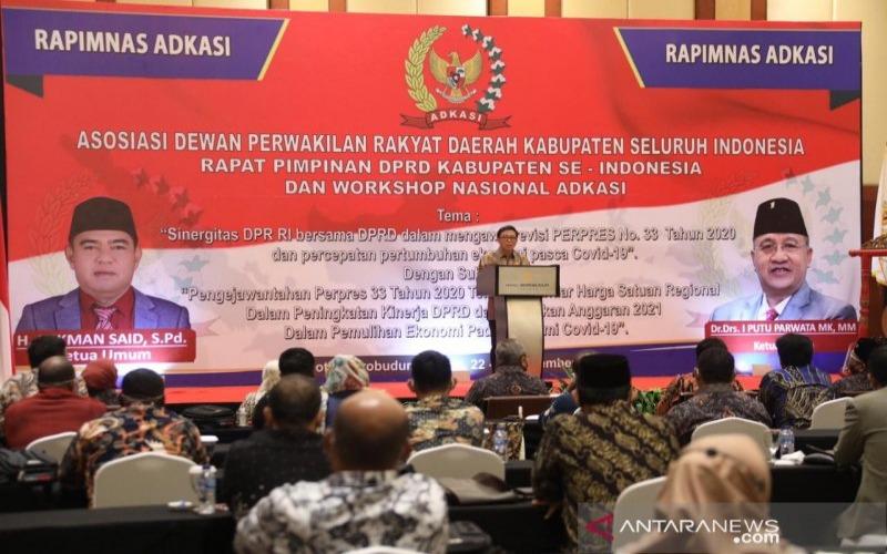Rapat Pimpinan Nasional Asosiasi DPRD Kabupaten Seluruh Indonesia (Adkasi) 2020 di Ballroom Hotel Borobudur, Jakarta, Senin, (23/11/2020)./ANTARA - HO/Kemendagri
