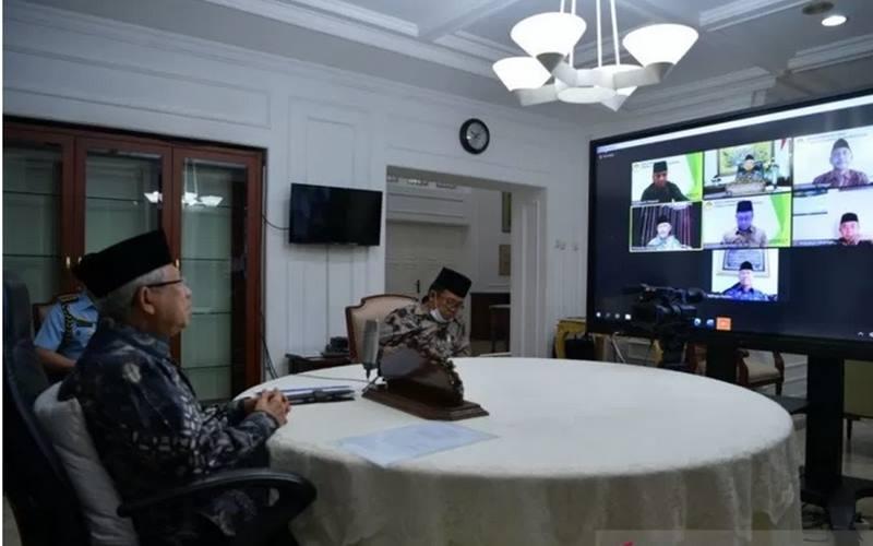 Wakil Presiden Ma'ruf Amin melakukan telekonferensi dengan pengurus DPP Lembaga Dakwah Islam Indonesia (LDII) dari rumah dinas wapres di Jakarta, Kamis (3/9/2020). - Antara