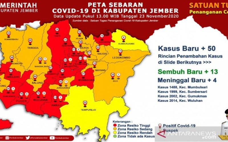 Peta sebaran pasien Covid-19 di Jember hingga 23 November 2020. - Antara/Diskominfo Jember