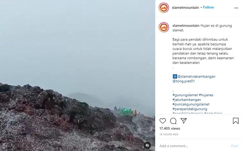 Fenomena langka hujan es terjadi di Gunung Slamet, Jawa Tengah  -  Instagram : @slametmountain