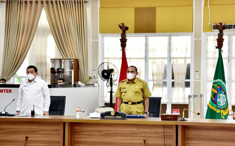 Gubernur Sumatra Utara Edy Rahmayadi dalam acara penyerahan DIPA dan TKDD oleh Presiden RI Joko Widodo kepada Kepala Daerah Tingkat Provinsi yang dilakukan secara virtual, Rabu (25/11 - 2020).