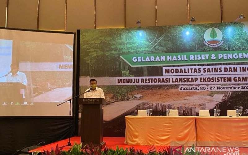 Kepala BRG Nazir Foead dalam Gelaran Hasil Riset dan Pengembangan BRG 2020 yang diadakan di Jakarta pada Kamis (26/11/2020). (ANTARA - Prisca Triferna)