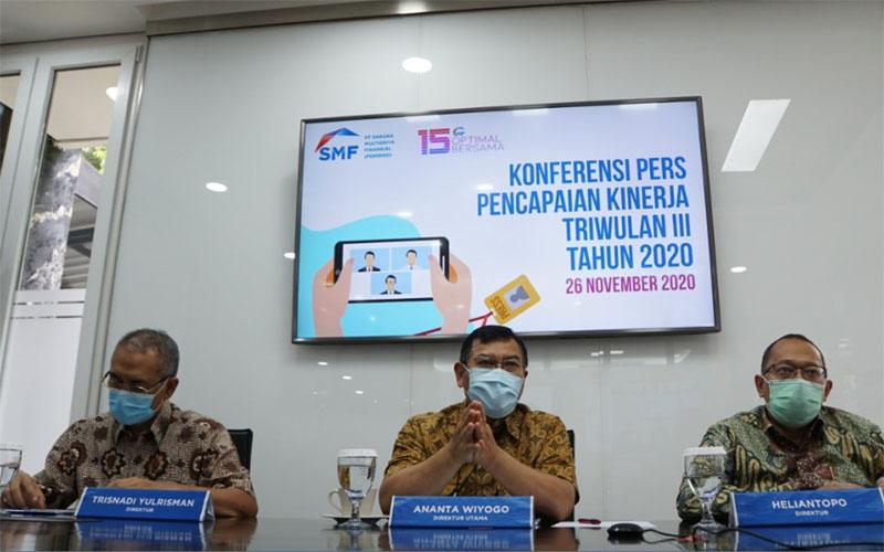 Konferensi pers kinerja PT SMF pada Kamis (26/11/2020)./Bisnis.com - Yanita Petriella