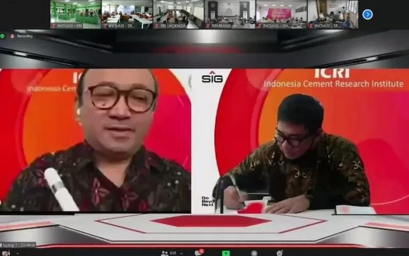 Penandatangan nota kesepahaman antara PT Semen Baturaja dan SIG secara virtual, Kamis (26/11/2020).  - ANTARA