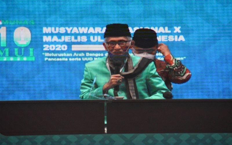 K.H. Miftachul Akhyar yang hadir pada Musyawarah Nasional Majelis Ulama Indonesia di Jakarta, pada 25--27 November 2020 kini menjadi Ketua Umum MUI periode 2020--2025 menggantikan K.H. Ma'ruf Amin. - Majelis Ulama Indonesia