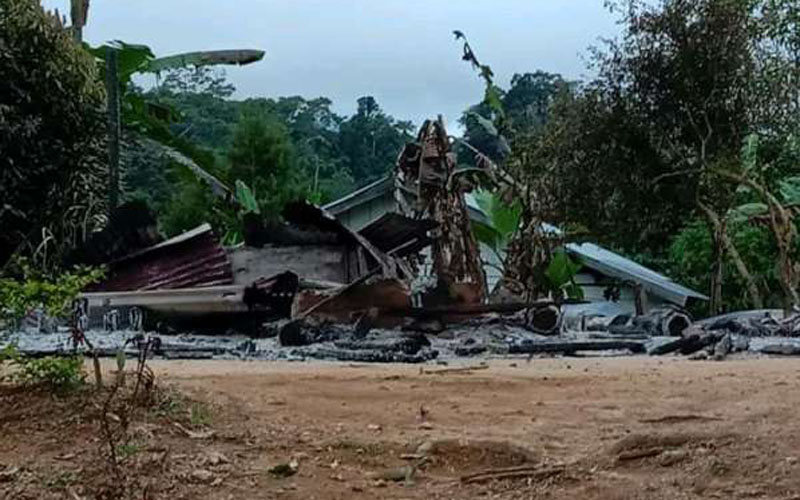 Pos pelayanan Gereja Bala Keselamatan Lewonu, Kecamatan Palolo, Kabupaten Sigi, Sulawesi Tengah dibakar oleh oknum tak dikenal.  - Dok. Istimewa