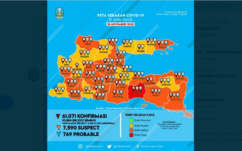 Peta sebaran Covid/19 di Jawa Timur per 28 November 2020.