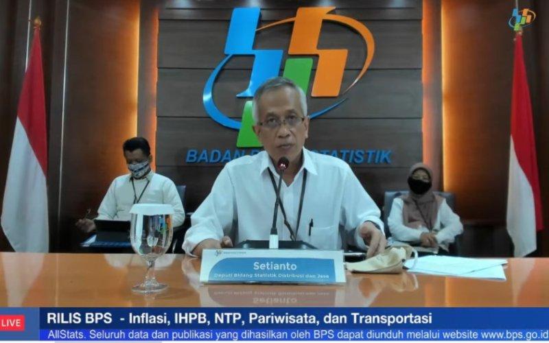 Setianto, Deputi Bidang Statistik Distribusi dan Jasa Badan Pusat Statistik. Tangkapan layar saat acara rilis berita resmi statistik BPS secara virtual, Selasa (1/12/2020)  - Bisnis/Ropesta Sitorus