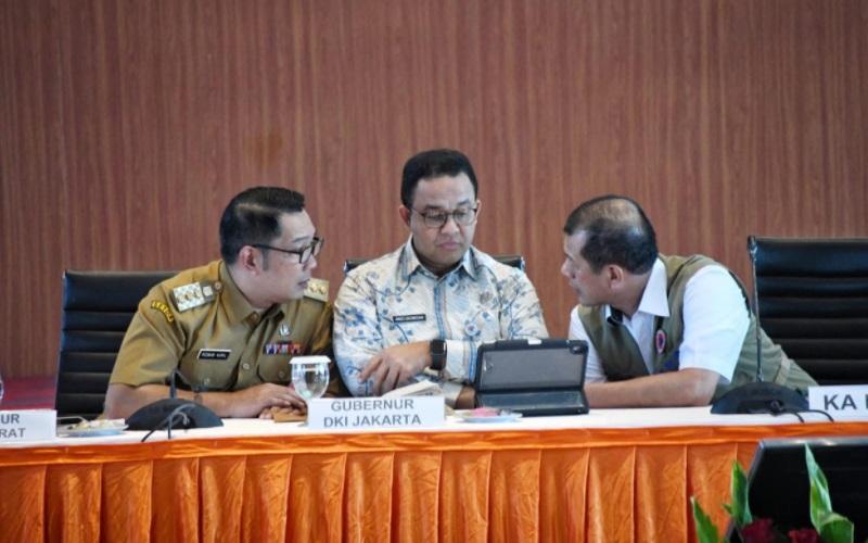 Gubernur Jawa Barat Ridwan Kamil, Gubernur DKI Jakarta Anies Baswedan, dan Ketua Satgas Penanganan Covid-19 Letjen Doni Monardo - Humas Pemprov Jabar
