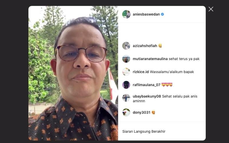 Gubernur DKI Jakarta Anies Baswedan melakukan live IG perdananya di akun Instagram resminya, aniesbaswedan, Rabu (2/11 - 2020).