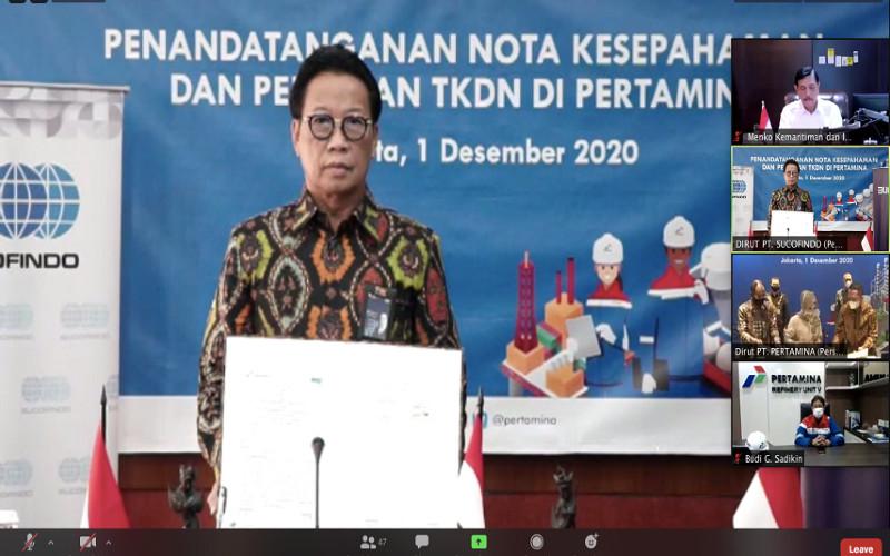 Pertamina berkolaborasi dengan Sucofindo, dan Surveyor Indonesia, serta Badan Pengkajian dan Penerapan Teknologi (BPPT), yang dituangkan dalam nota kesepahaman yang ditandatangani, Selasa (1/12/2020).  - Kementerian BUMN
