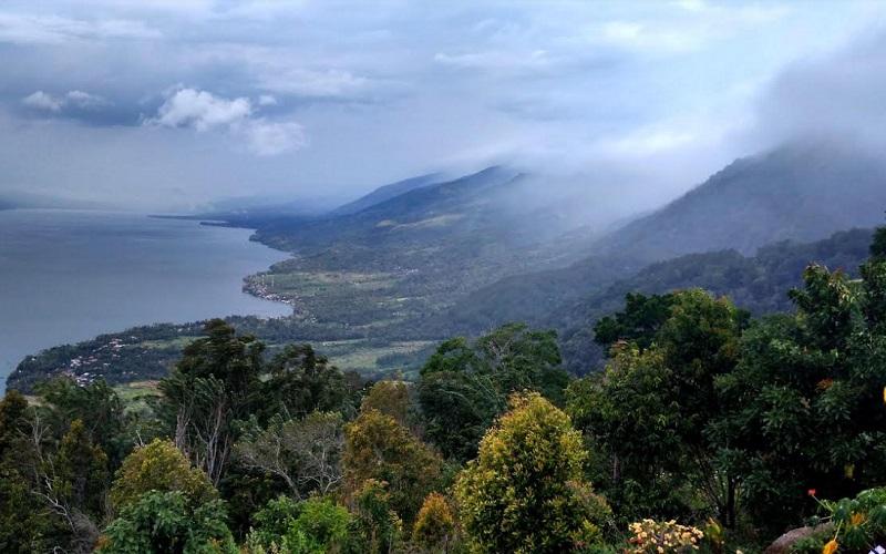 Kawasan hutan yang masih terlihat terjaga dan terlihat hamparan Danau Singkarak di antara Kabupaten Tanah Datar dengan Kabupaten Solok, Sumatra Barat. - Bisnis/Noli Hendra